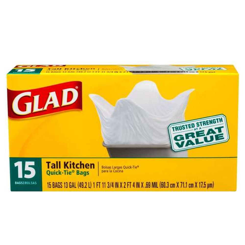 The Clorox Sales Company White 13 Gallon Glad TallKitchen Quick Tie Bag 00070