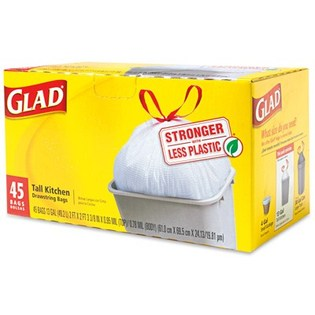 The Clorox Sales Company White 13 Gallon Glad TallKitchen Draw String Bag 78362