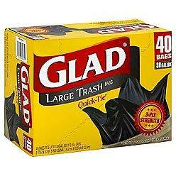 The Clorox Sales Company Black 30 Gallon Large    Quick Tie Glad Trash Bag 60035