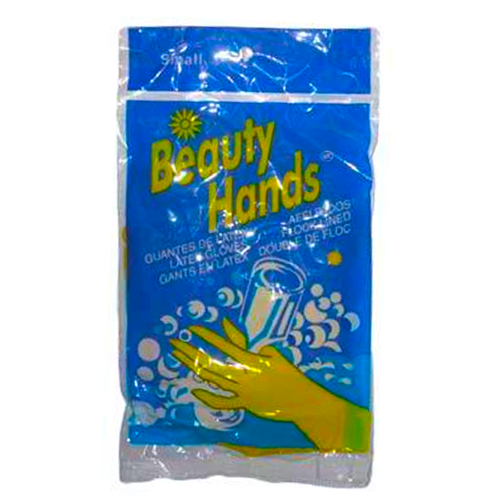 Beauty Hands Yellow Small Natural Latex Flock     Lined Glove Hl-100S/LSM6550-S