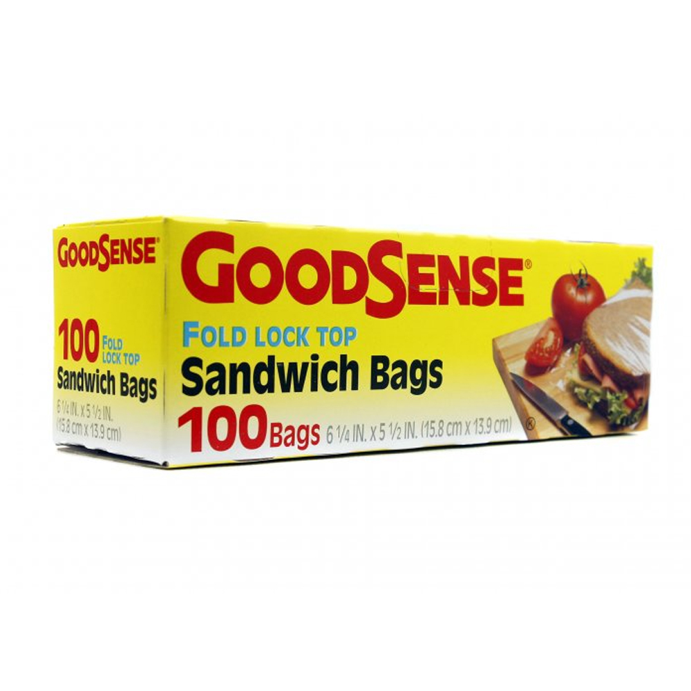 "Berry Global - Goodsense 6.25""x5.5"" 100 Count     Plastic Fold Lock Top Sandwich Bag GDS24S100"