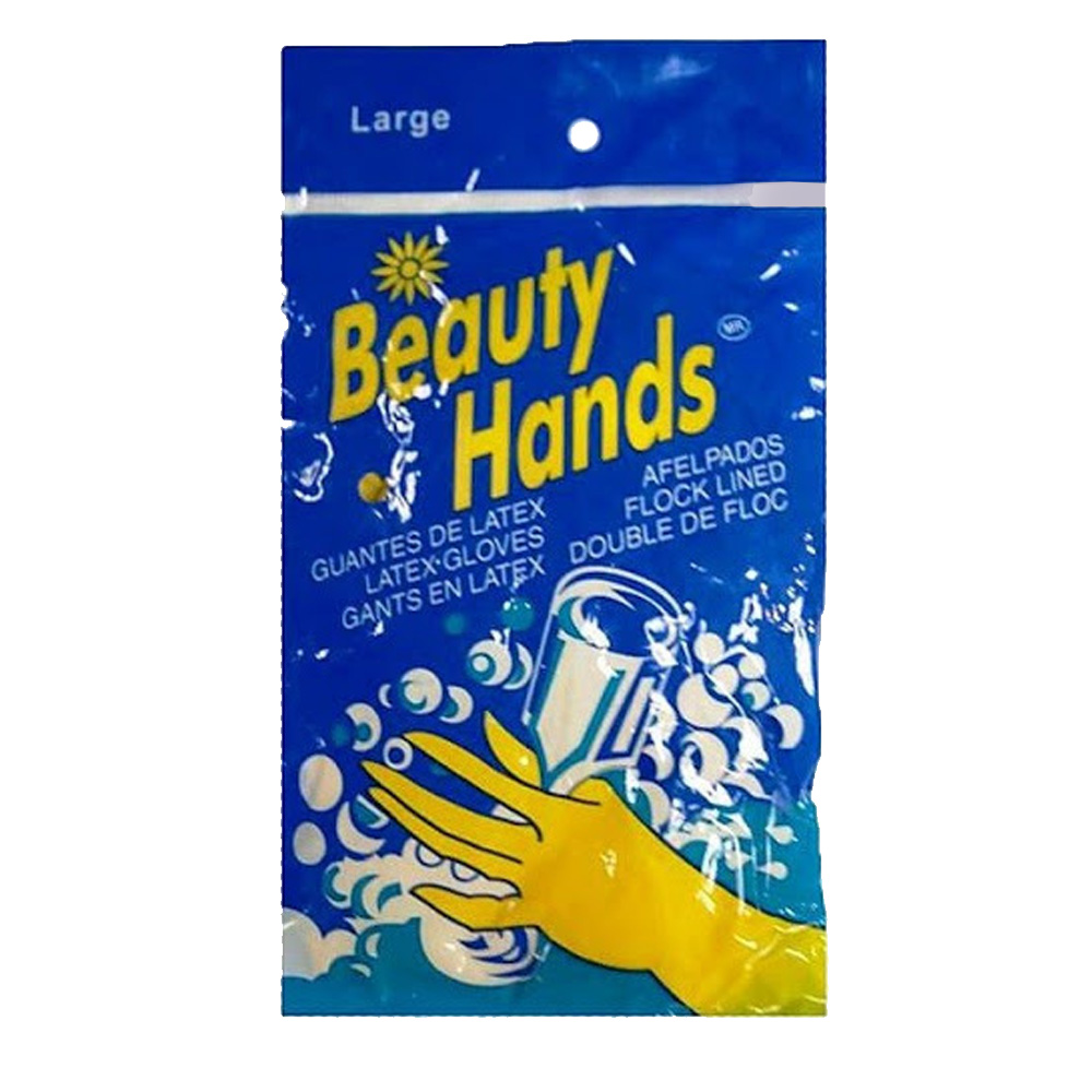 Beauty Hands Yellow Large Natural Latex Flock     Lined Glove Hl-100 L