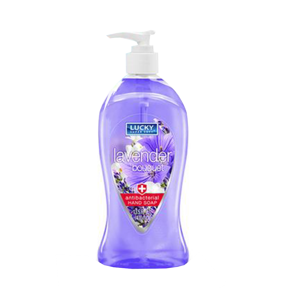 Delta Brands - Lucky Super Soft 13.5oz Lavender   Bouqet Liquid Hand Soap Pump Bottle 11119-12