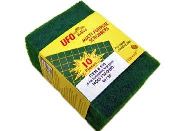 "UFO Inc. - Green 5.75""x4""x0.25"" 10 Pack Multi Purpose Scrubbers 110-0060"