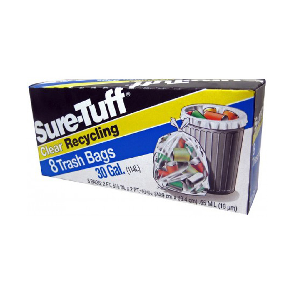 Berry Global Film Clear 30 Gallon Sure Tuff       Recycling Trash Bag SRT24CFT8