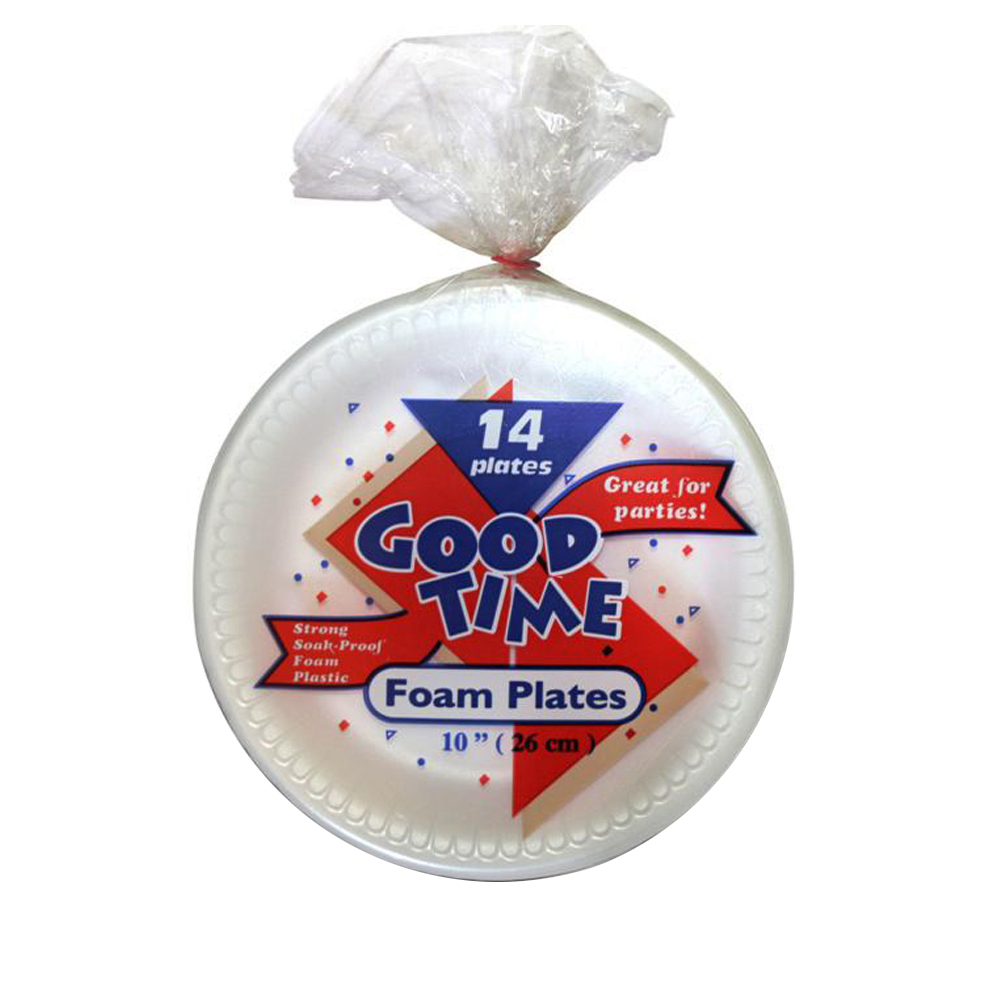 "DA Intl. - Good Time White 10"" Round Foam Plate 42835"