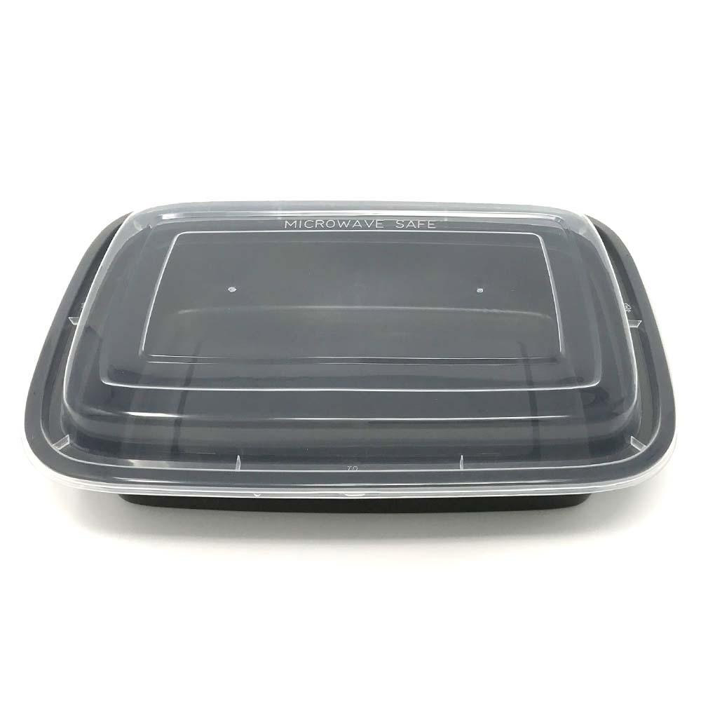Black 32 oz. Microwavable Rectangular Plastic Container Combo F9632B/F9633B