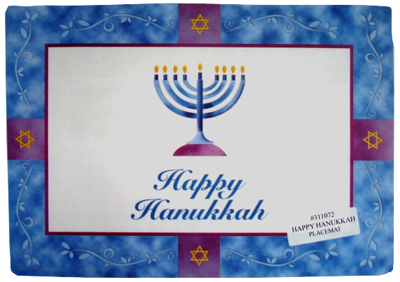 "Convenience Packs - Hanukkah Design 10""x14"" Rectangular Paper Placemat"