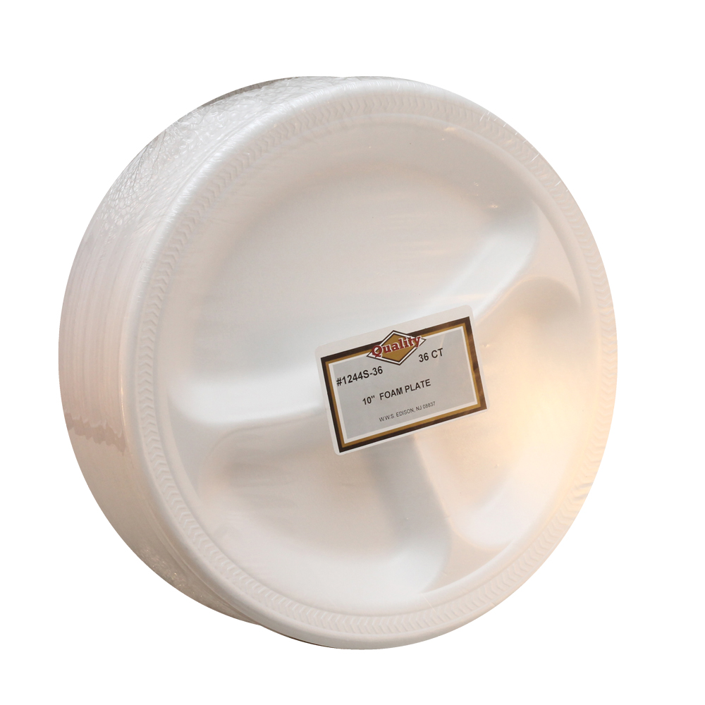 "Convenience Packs - Quality White 10"" Round Foam 3Compartment Plate 1244S-36"