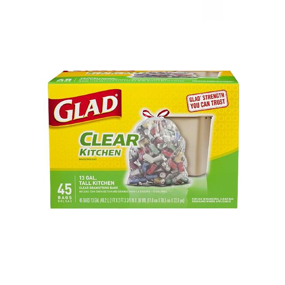 The Clorox Sales Company Clear 13 Gallon Glad     Kitchen Bag With Draw String 78543