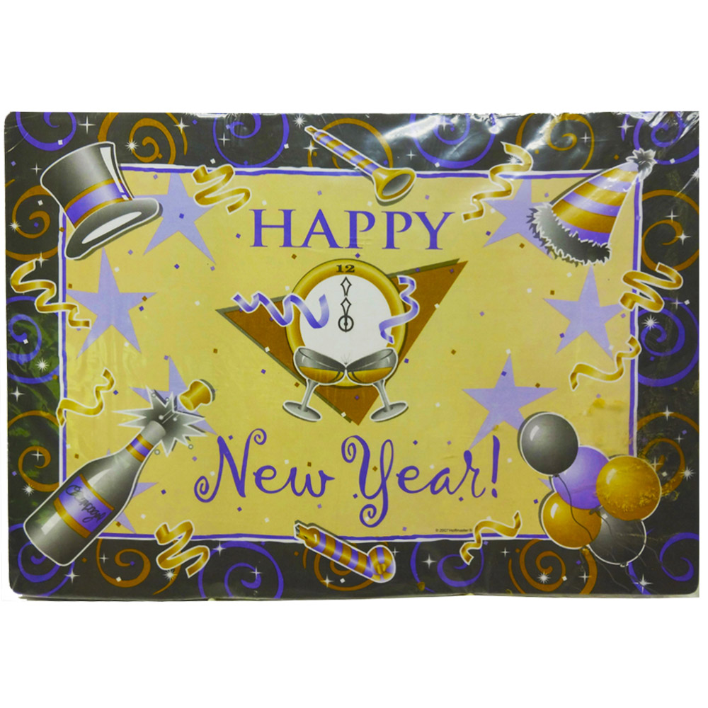 "Convenience Packs - Happy New Year Design 10""x14"" Rectangular Paper Placemat 899425"