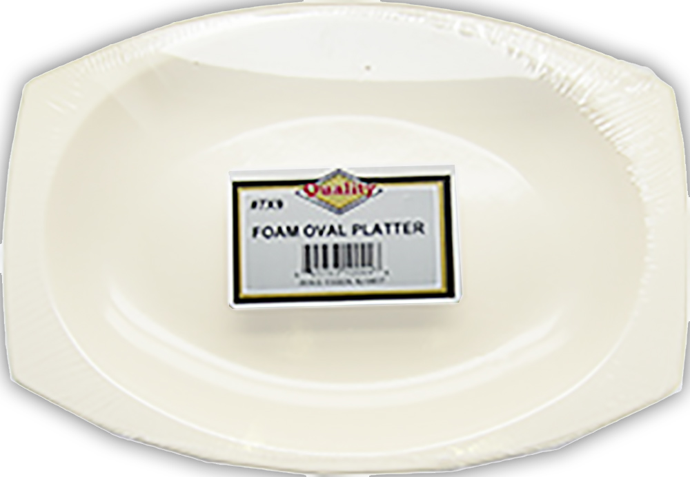 "Convenience Packs - Quality White 7""x9"" Oval Foam Platter 7X9-36"