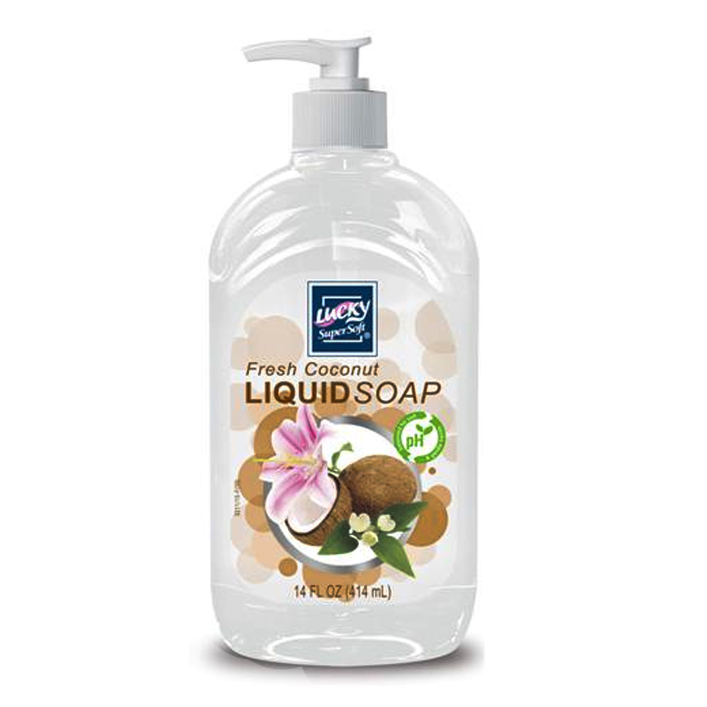 Delta Brands - Lucky Super Soft 14 oz. Fresh      Coconut Liquid Pump Hand Soap 3211-12