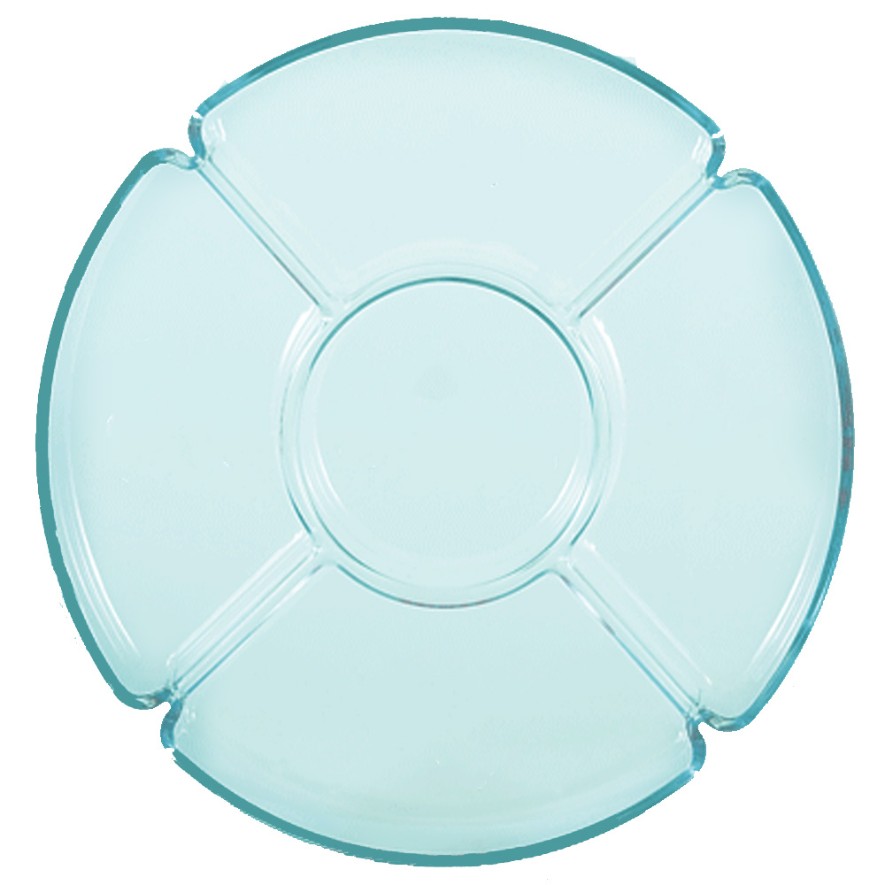 "Novelty Crystal - Aqua 13"" Round Plastic 6        Compartment Serving Tray 185"