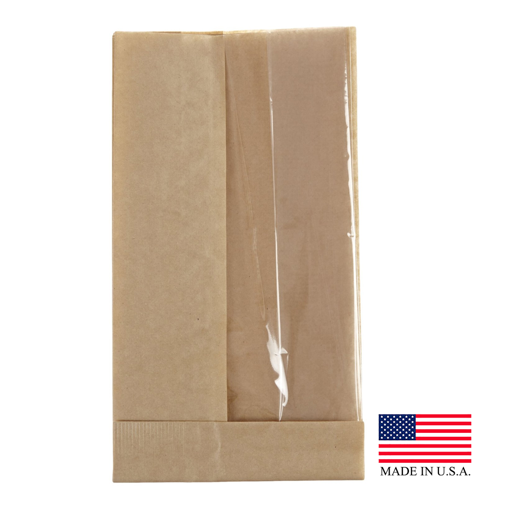 "Bagcraft - Natural 4.25""x2.75""x11.75"" Extra Large Double View Paper Sandwich Bags 300090"