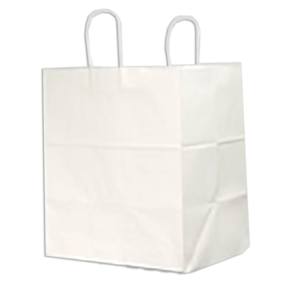 "Duro Bag Mfg. - White 14""x10""x16"" Paper Super Royal Shopping Bag 85934"