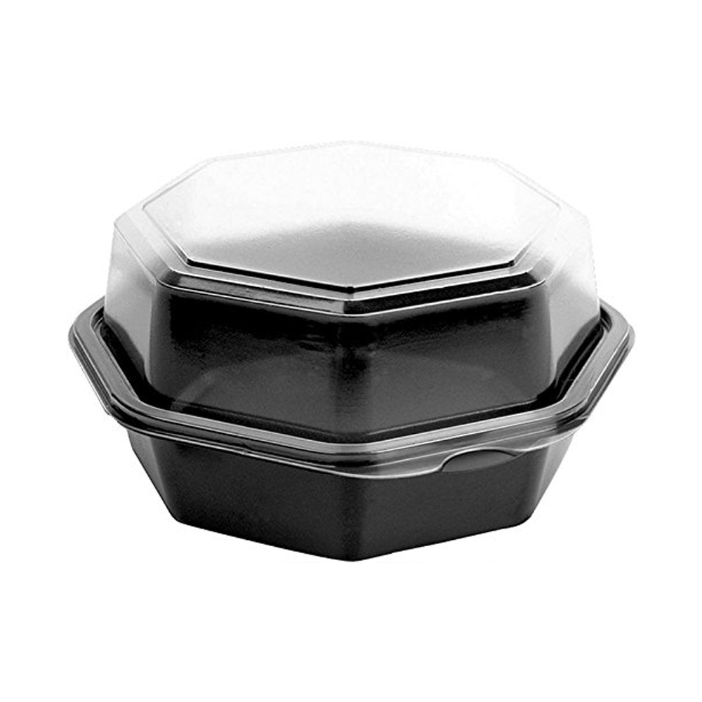 "Solo Cup Black/Clear 6.76""x6.30"" Plastic Hinged Octaview Container 862611-PS94"