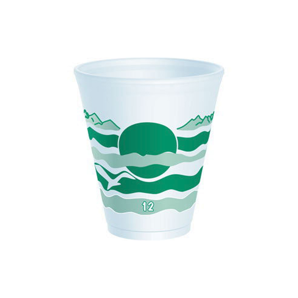 Dart - Horizon White & Green 12 oz. Foam Cup 12LX16H
