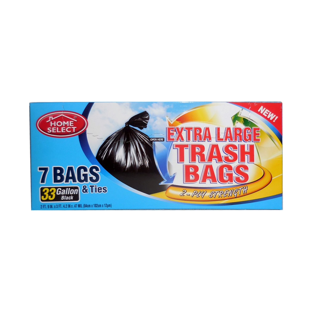 Delta Brands Home Select Black 33 Gallon 2ply Extra Large Trash Bags & Ties 6026-24