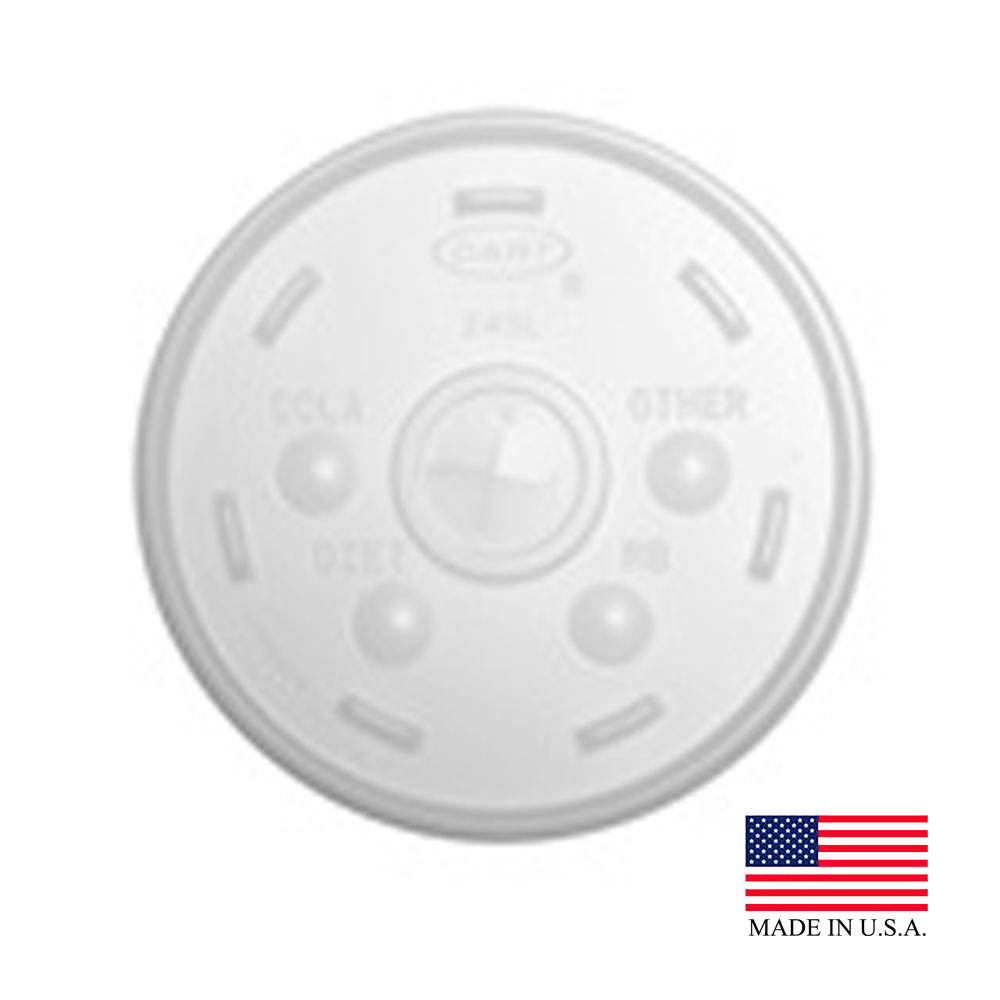 Dart - Translucent 24 oz. Round Plastic Lid With Straw Slot 24SL05