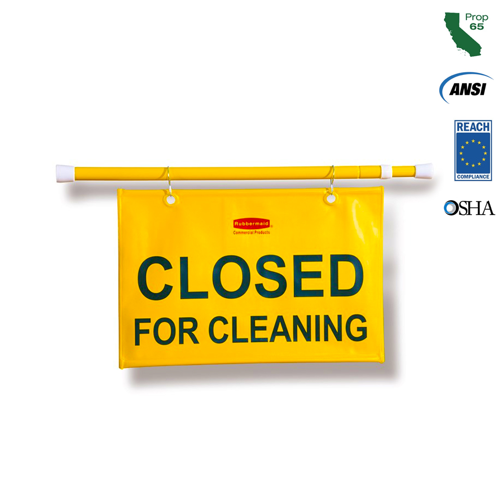 "Rubbermaid Commercial - Yellow 25""x50"" ""Closed For Cleaning"" Hanging Doorway Safety Sign FG9S15"