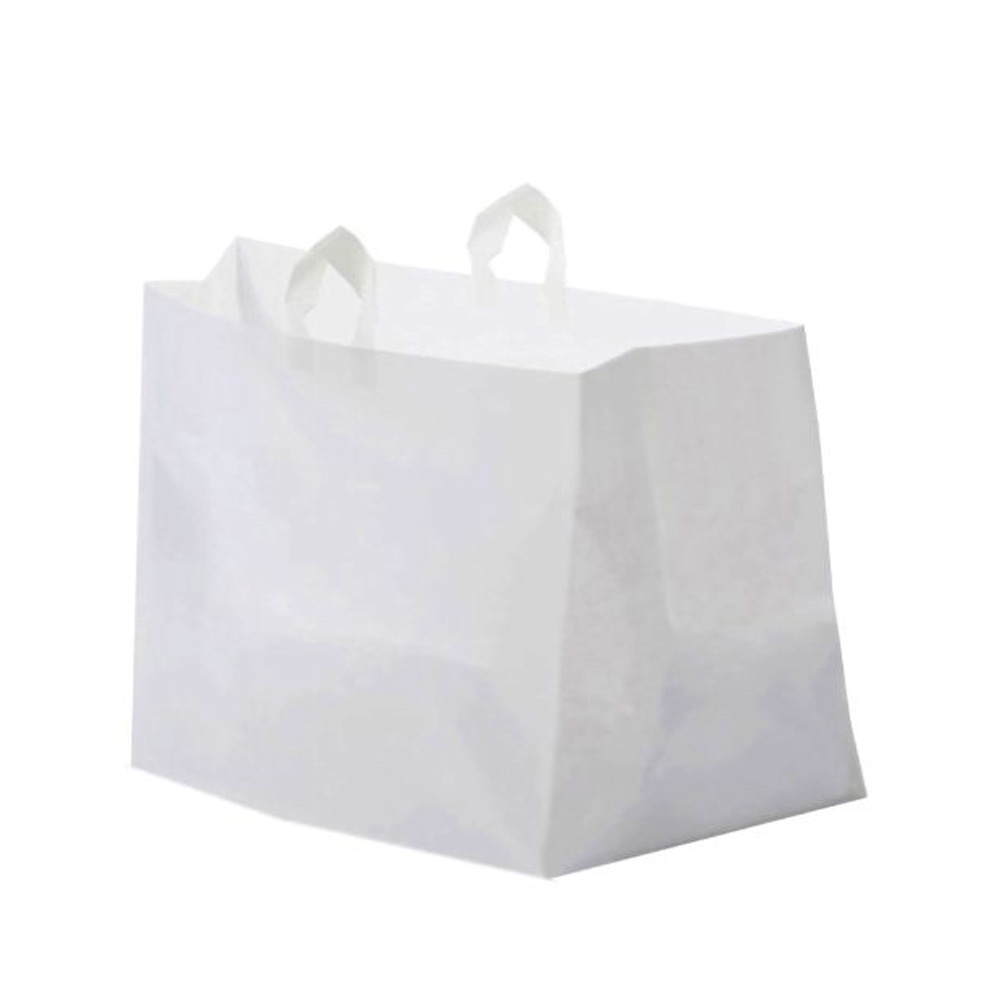 "Glopack Inc. - White 12""x14"" Plastic Half Tray Bag With Soft Loop Handle SLNLWTTD"