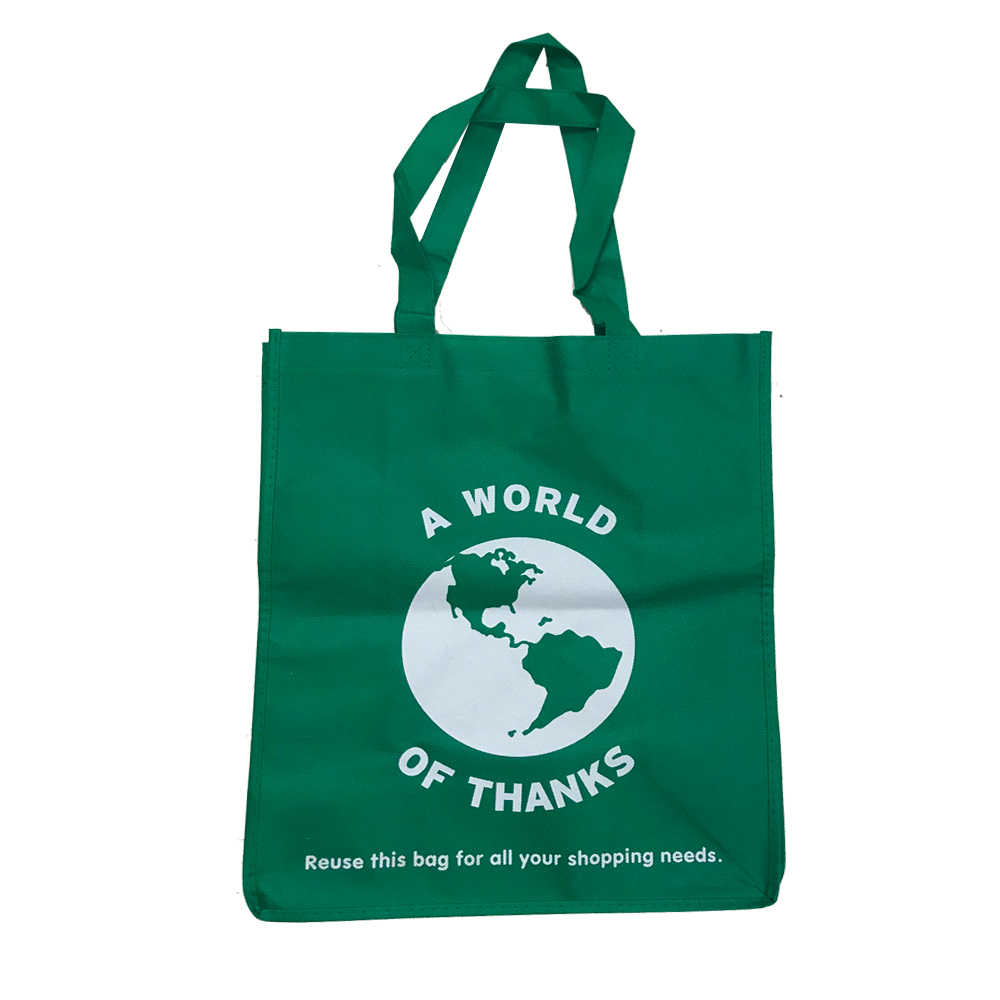 "Glopack Green Re-Usable ""A World of Thanks"" Tote Bag WORLDNW"