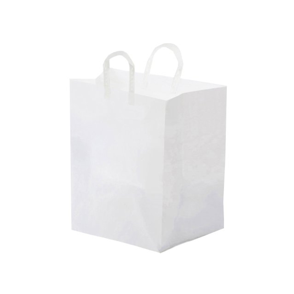 "Glopack Inc. - White 12""x10""x16"" Large Plastic Take Out Shopper Bag With Folded Loop Handle SFL"