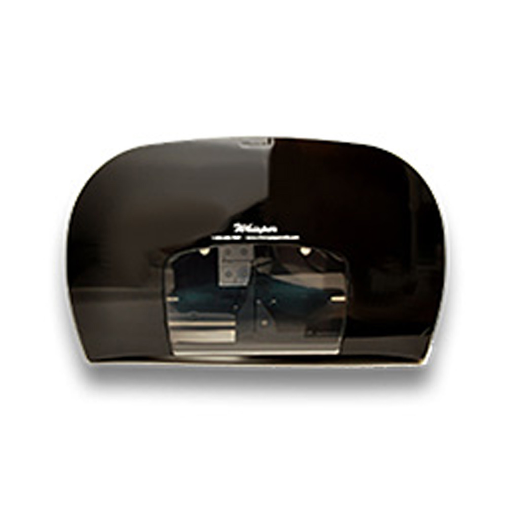 "Nittany Paper Black 7"" Whisper Mini Twin Bathroom Tissue Dispenser NP-207-35B"