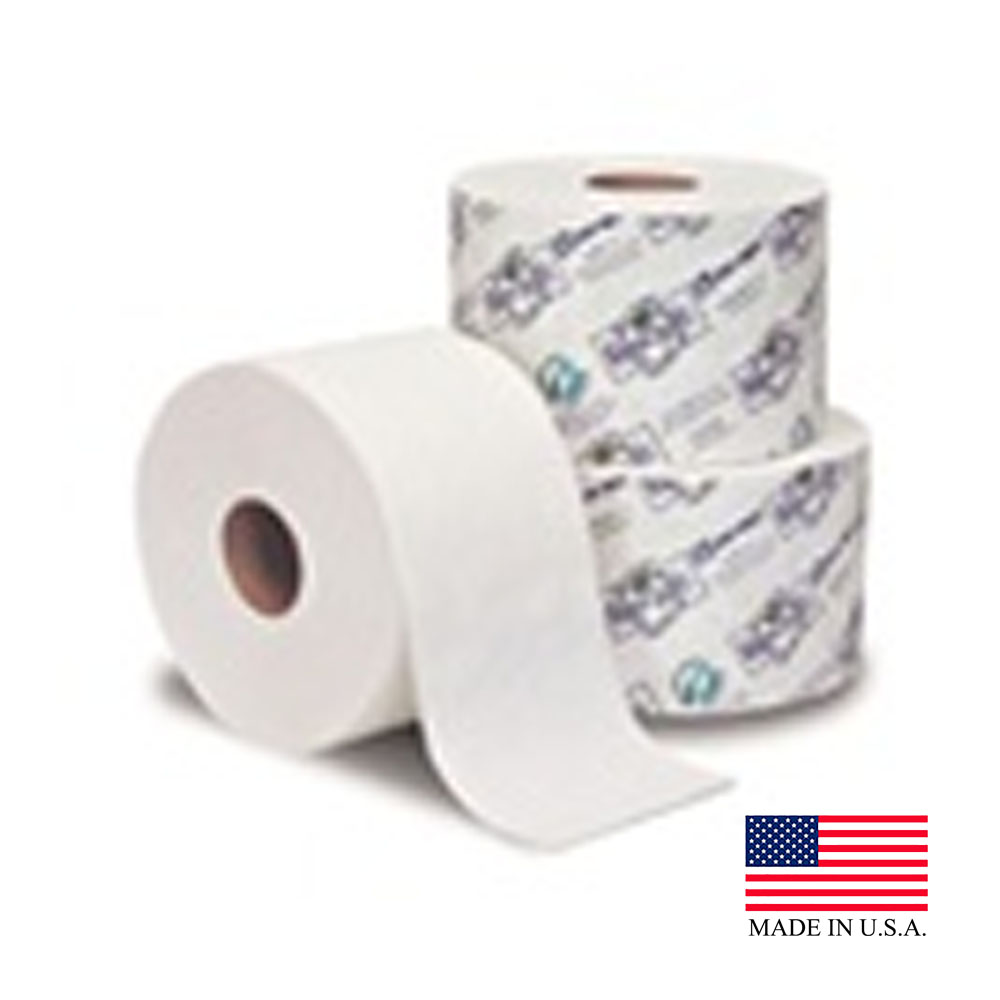 "Essity Professional White 3-3/4""x4"" / 1 Ply Eco   Soft Green Seal Bathroom Tissue 112990"