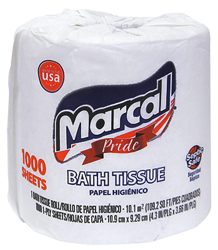 Soundview Paper White 1 Ply Marcal Pride Bathroom Tissue 1000 Sheet 03408-09