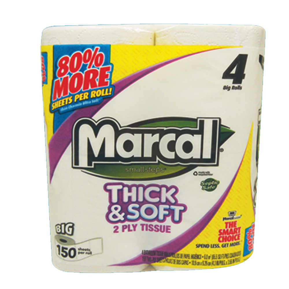 Soundview Paper White 2 Ply / 4pk Marcal Thick & Soft Bathroom Tissue 150 Sheet 03887-09