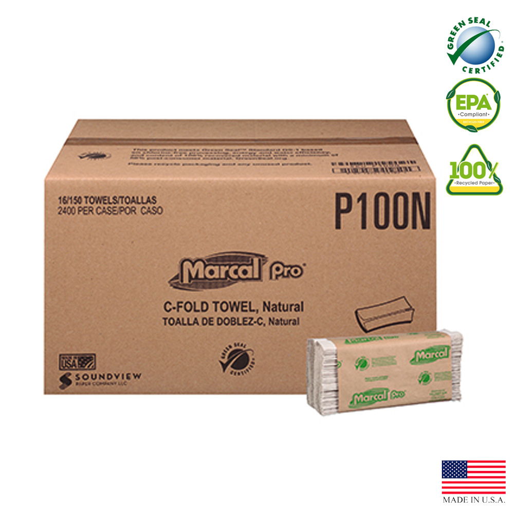 "Putney Paper - Natural 9.25""x9.5' 1 ply 150 Sheet C-fold Towel P-100-N"