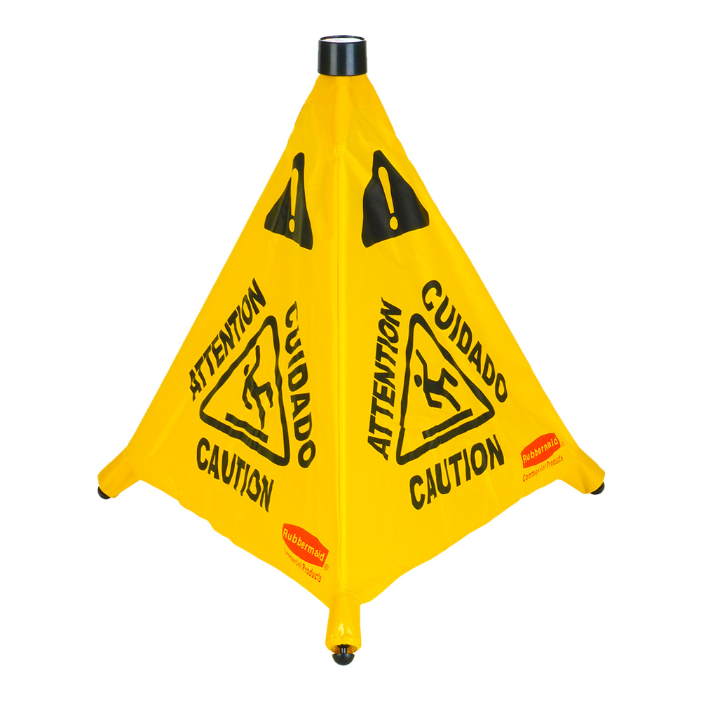"Rubbermaid Commercial - Yellow 30"" Multi-lingual Pop Up Wet Floor Symbol Safety Cone FG9S0100YE"