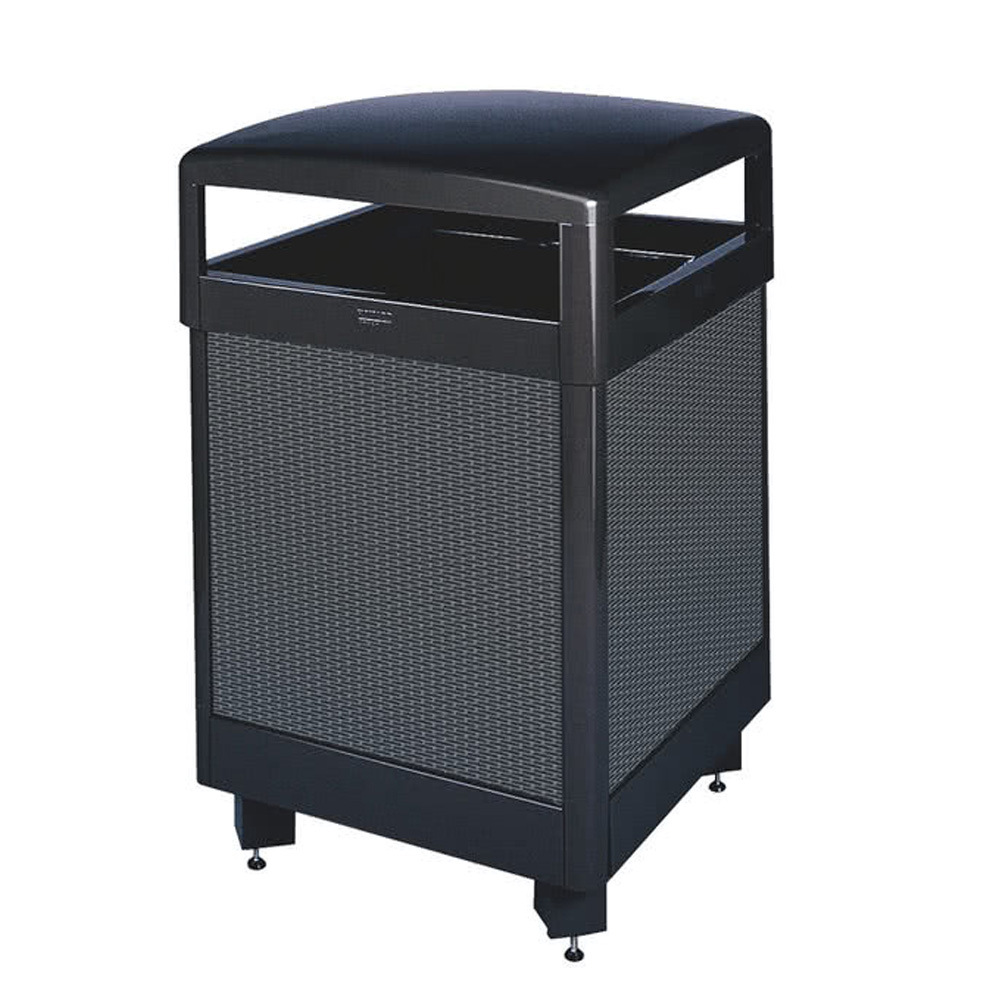 Rubbermaid Black With Anthracite Perforated Steel Panels Steel Waste Receptacle FGR36HT500PL