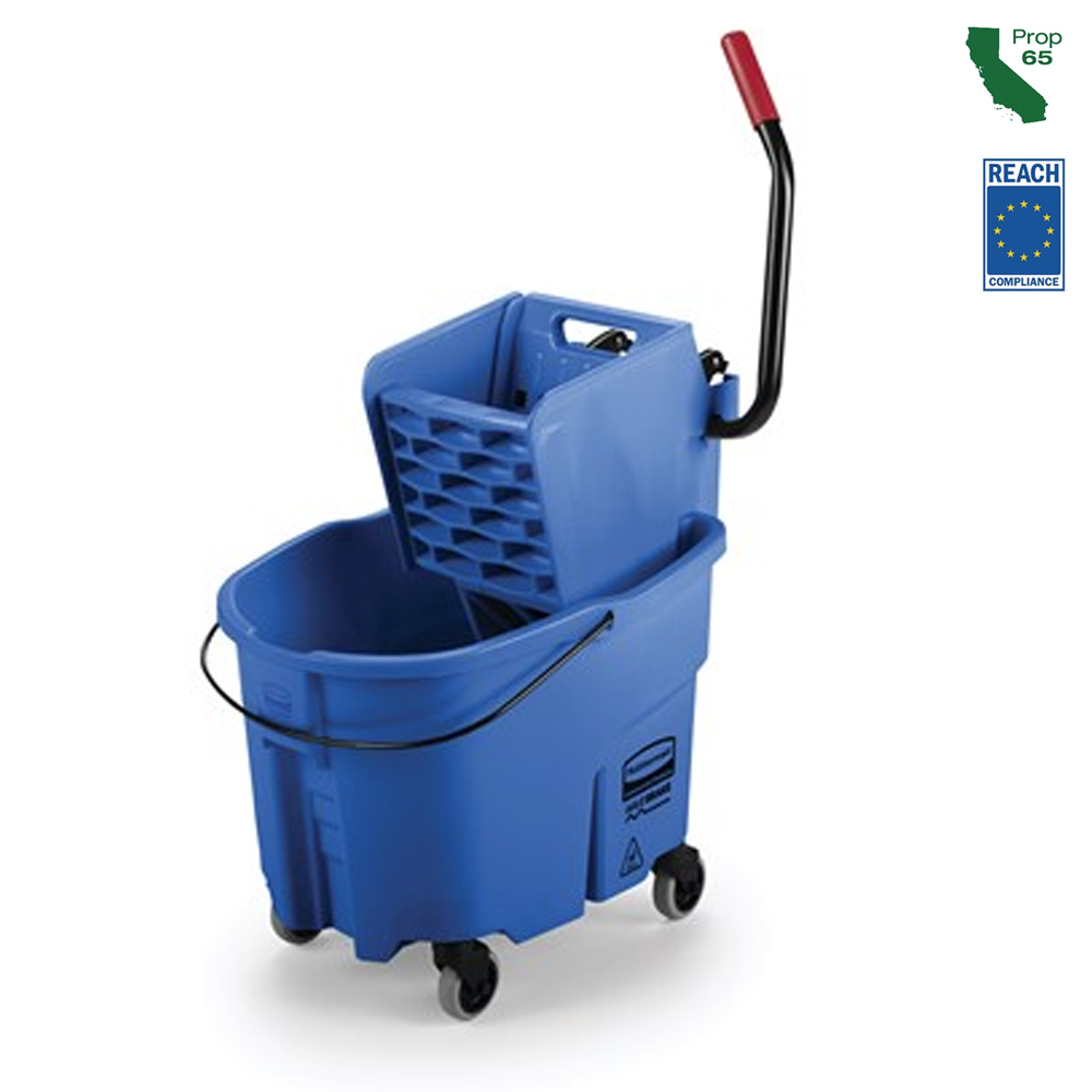 Rubbermaid Commercial - Wave Brake Blue 35 Qt Side Press Mop Bucket Combo FG758888BLUE