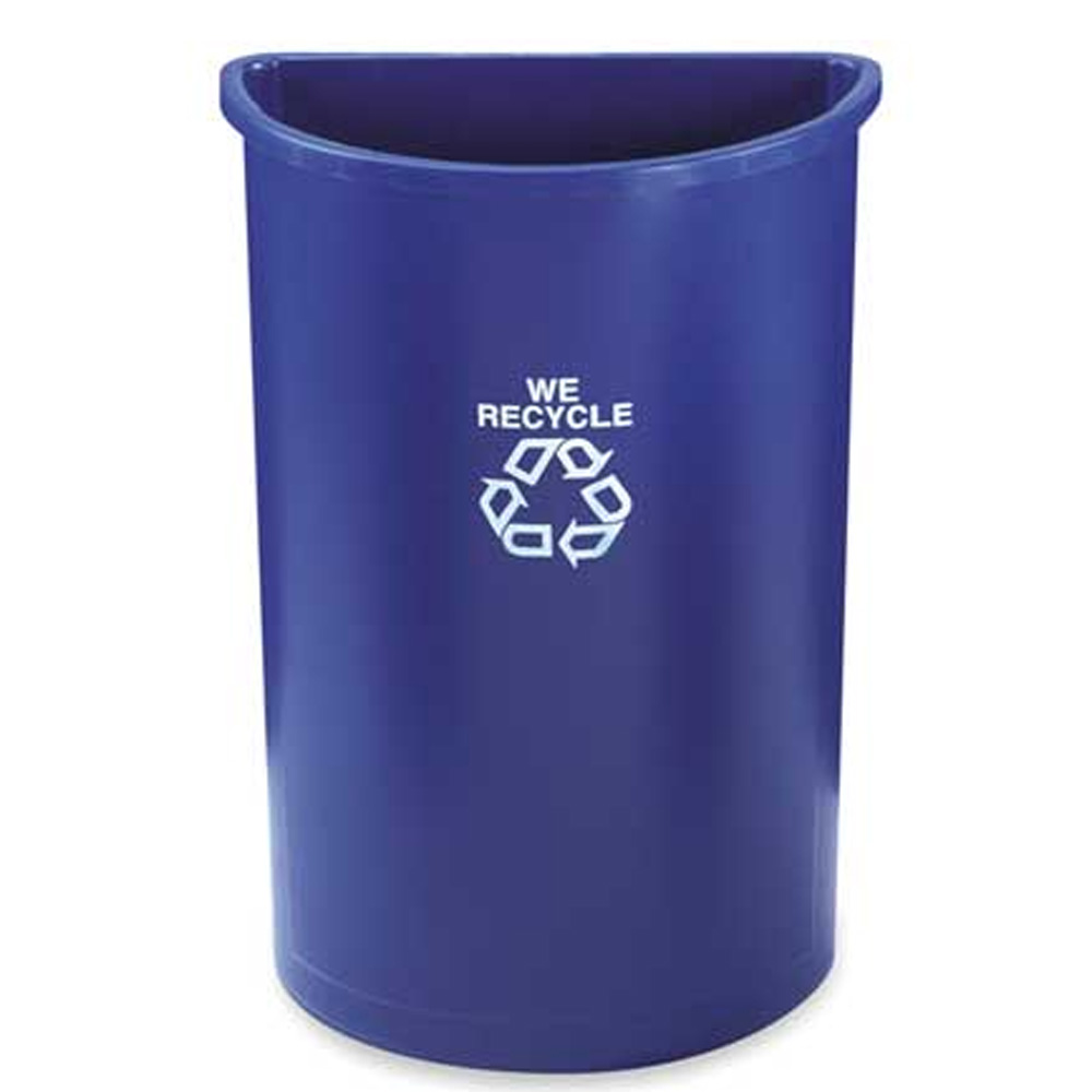Rubbermaid Commercial - Blue 21 Gallon Semi-round Recycling Container FG352073BLUE