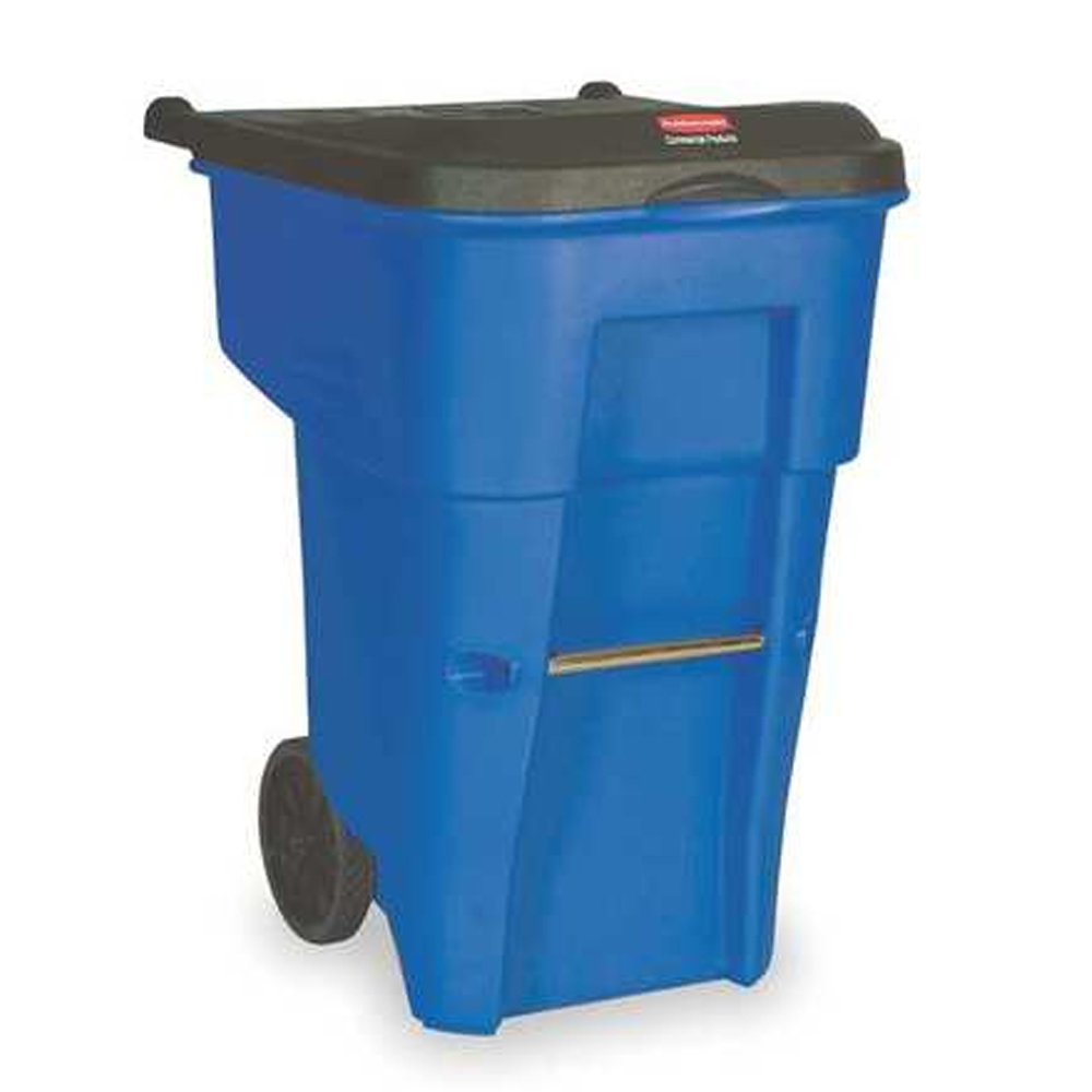 Rubbermaid Blue 95 gallon Rollout Standard Container With Lid FG9W2273BLUE