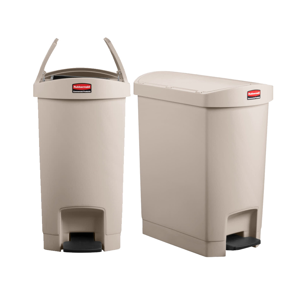 Rubbermaid Beige 8 Gallon Slim Jim Step On Trash Can 1883457