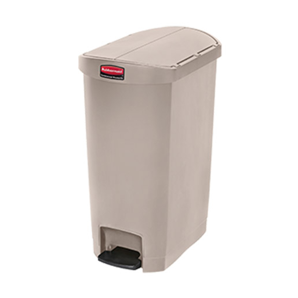 Rubbermaid Beige 13 gallon Slim Jim End Step Step On Waste Bin 1883459