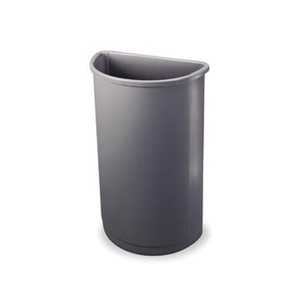 Rubbermaid Commercial - Grey 21 Gallon 1/2 Round Wall Hugger FG352000GRAY
