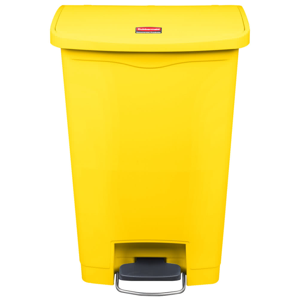 Rubbermaid Commercial - Slim Jim Yellow 13 Gallon Front Step-On trash Can 1883575