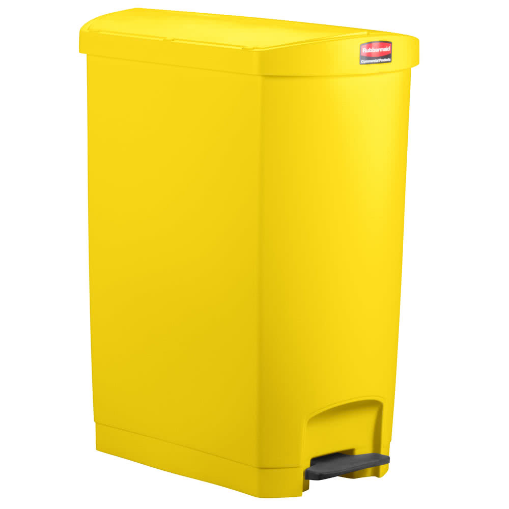 Rubbermaid Commercial - Slim Jim Yellow 24 Gallon End Step-On Trash Can With Rigid Plastic Line