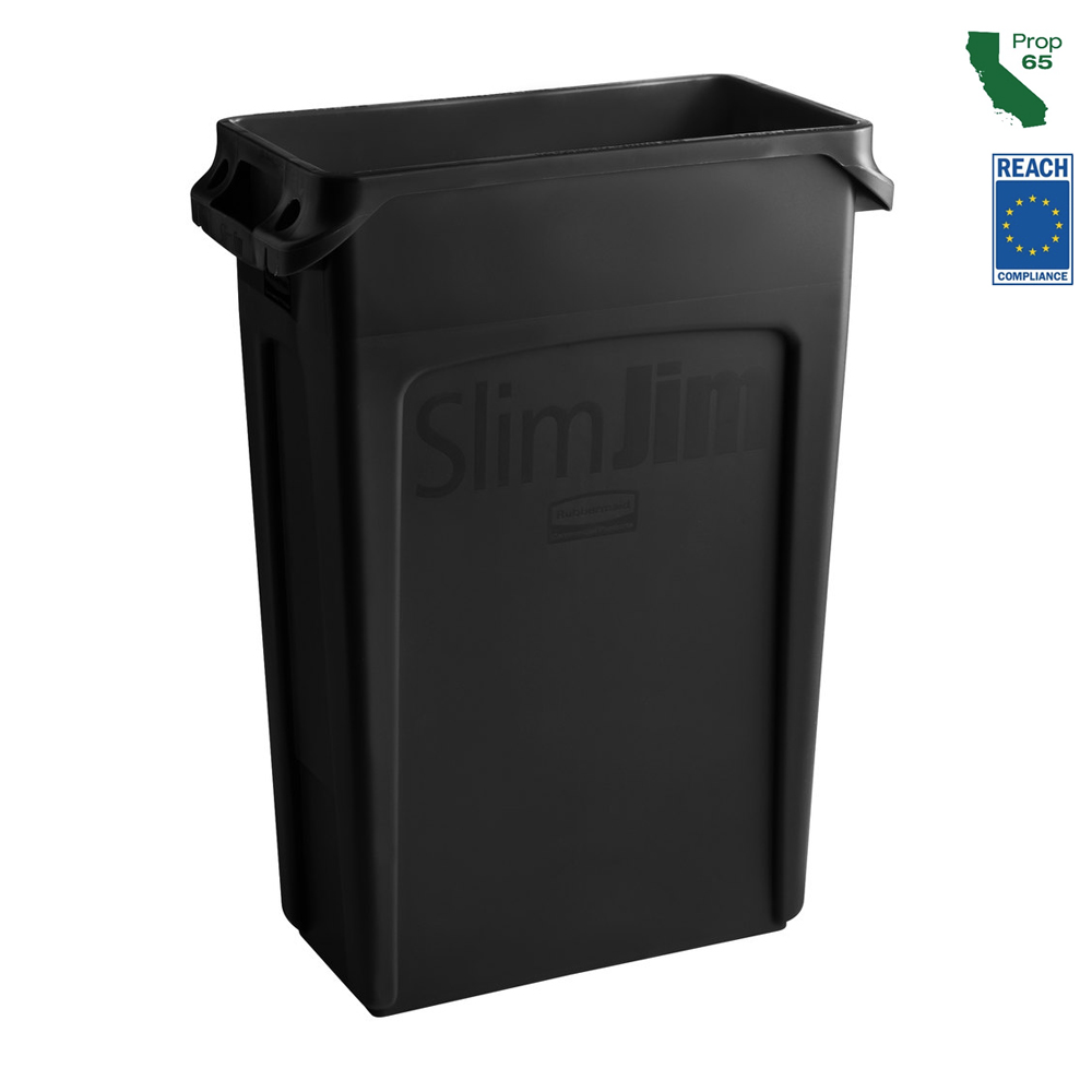 Rubbermaid Black 23 Gallon Slim Jim Waste Container FG354060BLA