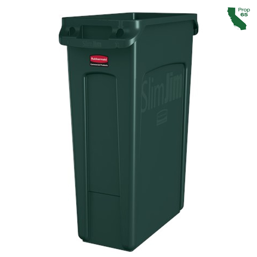 Rubbermaid Commercial - Slim Jim Green 23 Gallon Trash Can 1956186