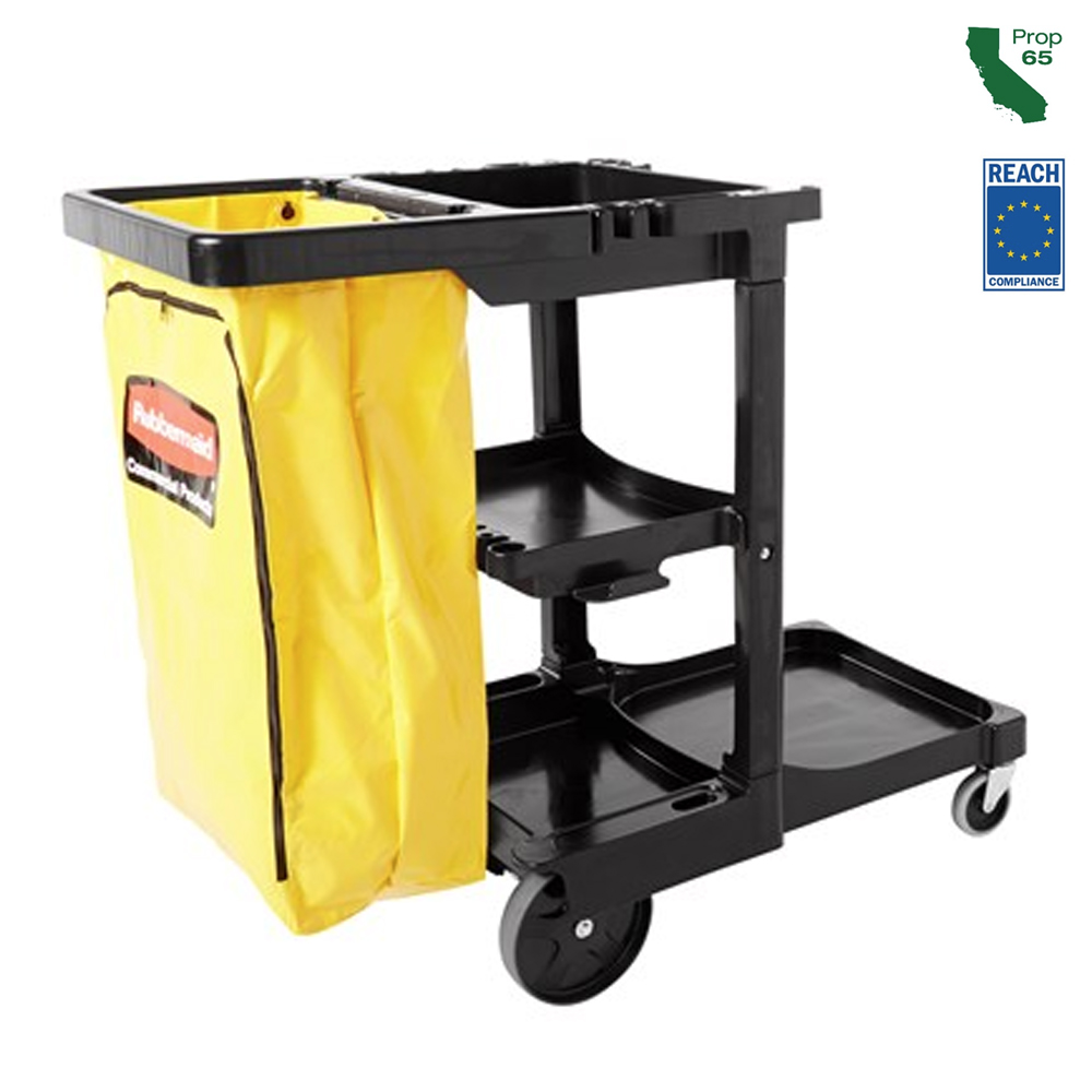 Rubbermaid Commercial - Black Cleaning Cart With Zippered Vinyl bag FG617388