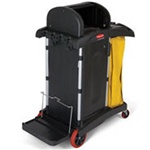 Rubbermaid Black High Security Cleaning Cart FG9T7500BLA