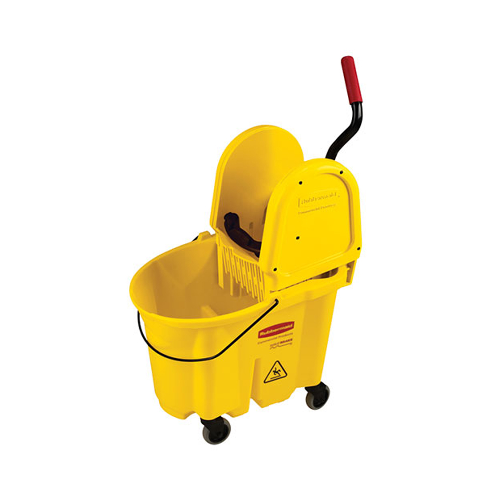 Rubbermaid Yellow 35qt Wave Brake Down-Press Mop Bucket FG757788YEL