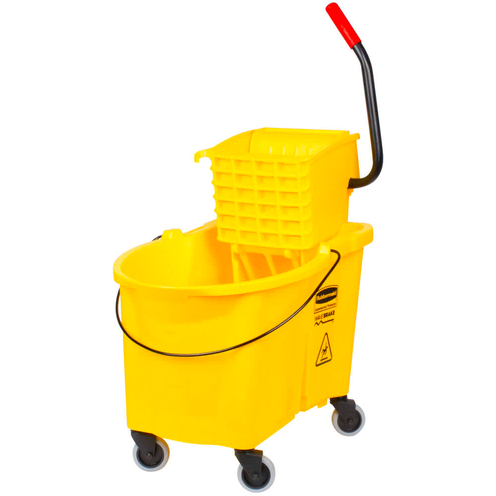 Rubbermaid Commercial - Wave Brake Yellow 44 Qt Mop Bucket With Side Press Wringer Combo FG6186