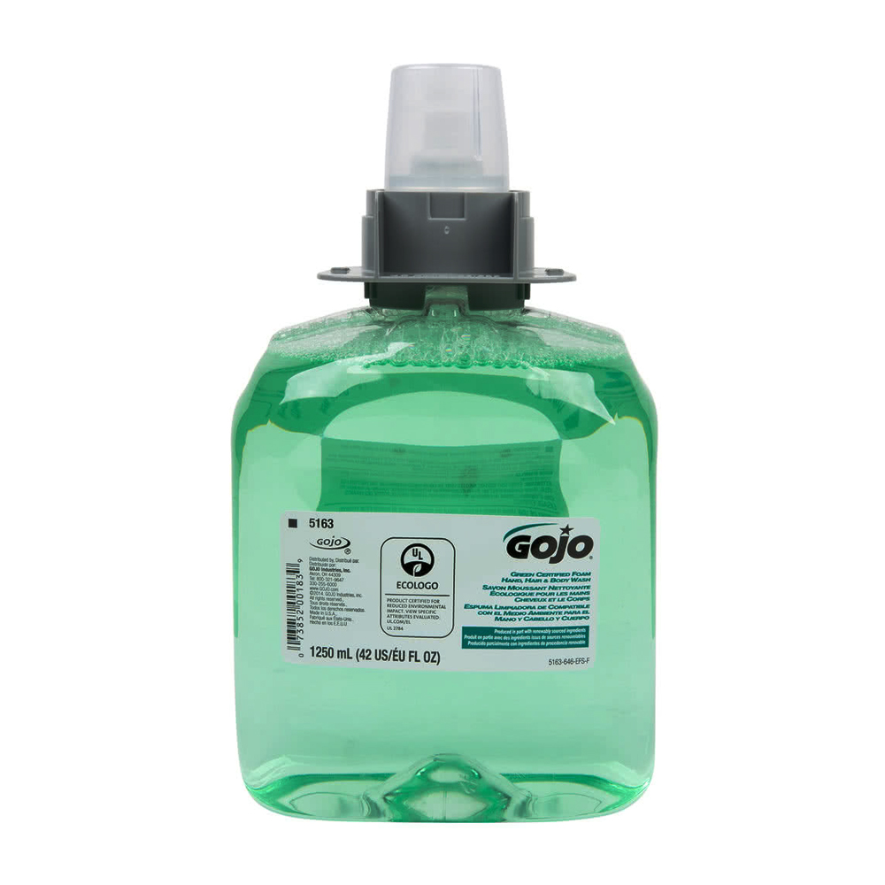 Gojo Ind. - 1250 ml Cucumber Melon Green Certified Foaming Hand Wash Refill 5163-03